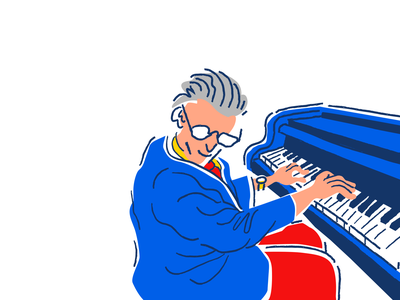 Jazz 6 Alt musician sketch drawing old man linestyle bright pop pianist piano jazz vector procreate illustrator music minimal comic weird cartoon character illustration