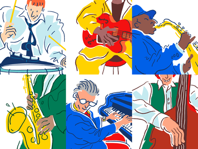 Jazz band 6 - grid view drums guitar piano saxophone musician musicians jazz drawing grid ipad vector procreate illustrator music minimal comic weird cartoon character illustration