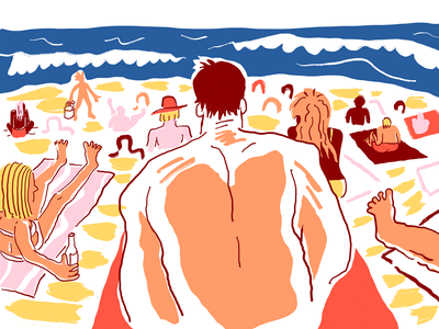 Plage 1 waves wave sunny beach party colorful people summer sea side sea beach drawing vector procreate illustrator minimal comic weird cartoon character illustration