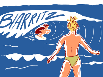 Plage 5 france summer cut out online beach topless surfing biarritz sea surf sketch pastel ipad drawing vector procreate illustrator minimal character illustration