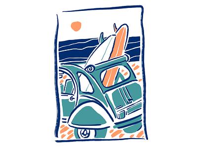 Retro surf car 90s 70s 80s surfing 2cv beach sea ocean surf retro vintage old school pastel ipad drawing vector procreate illustrator minimal illustration