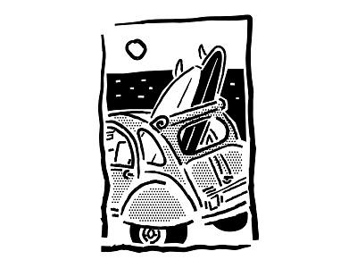 Retro surf car B W sunset lines halftone cut out linocut black and white line art surfboard sea beach surf sketch ipad drawing comic vector procreate illustrator minimal illustration