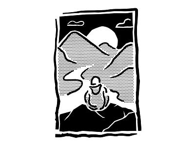 Retro Mountain view B&W linocut sunset landscape ipad drawing comic vector procreate illustrator lines halftone line art minimal illustration outdoor mountains old school vintage retro 80s