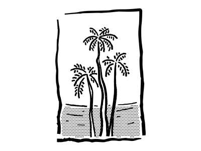 Sea view trees ocea sea summer palm tree blackandwhite oldschool vintage retro lineart lines sketch ipad drawing comic vector procreate illustrator minimal illustration