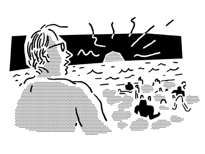 Beach dude sunset people black and white lines beach sea sketching summer ocean halftone cut out line art drawing comic vector procreate illustrator character minimal illustration