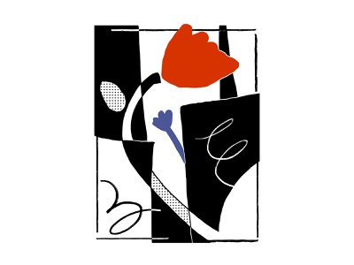 Flower Power expressive sketch tulip weird abstract composition simple lines shapes half tone red blue poster black and white flower vector procreate illustrator minimal illustration