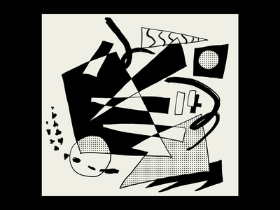 Collide poster design poster abstract art weird shapes brush strokes negative space constructivist cubist abstraction abstract pattern halftone simple black and white vector procreate illustrator minimal illustration