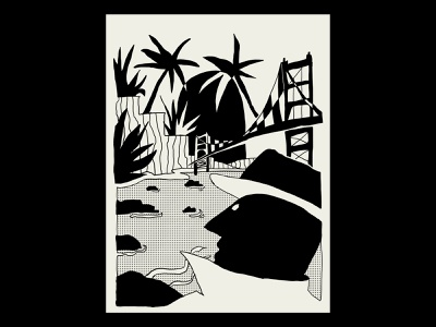Dreaming of Babylon landscape detective editorial illustration storytelling minimalist weird simple half tone black and white book book cover golden gate san francisco comic character vector procreate illustrator minimal illustration