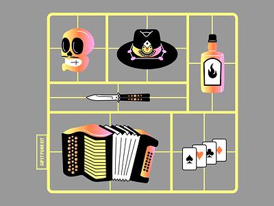 Gipsy Punk Kit icon alcool skull accordion hat mexican acid gipsy punk kit toy illustration