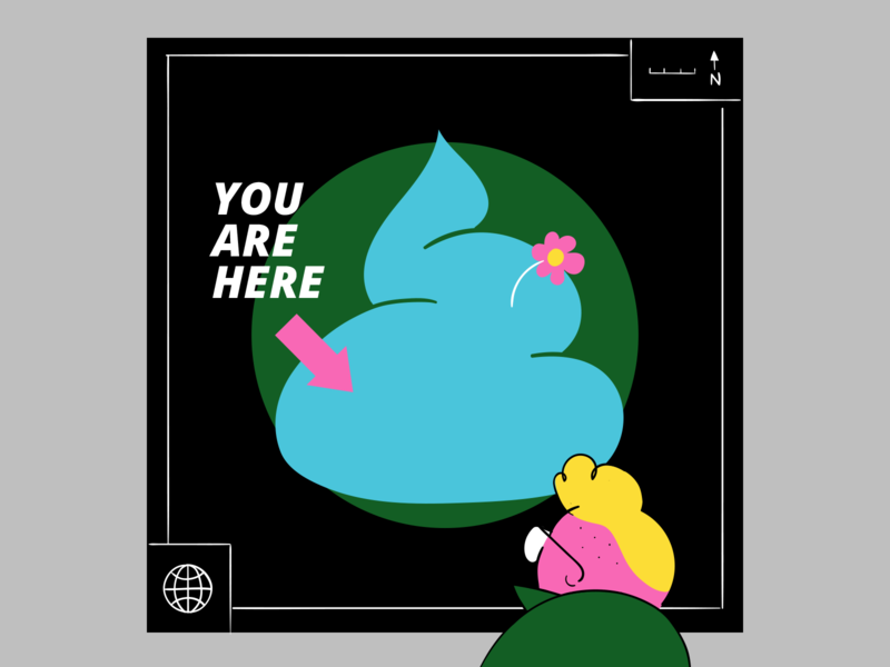 You are here environment green eco friendly world colorful flower character illustration weird funny comic location map shit