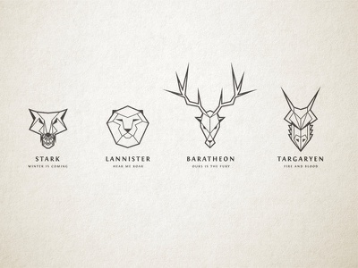 Game of Thrones House Sigil Illustrations logo line vector art line art game of thrones hodor!