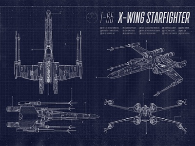 X wing starfighter blueprint by chris spooner dribbble x wing starfighter blueprint malvernweather Images