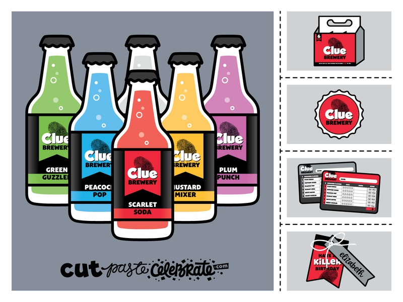 "Clue Brewery Bottle Labels & ""Drink Along with the Movie"" Game clueless murder mystery game soda beer gift tag gift tags"