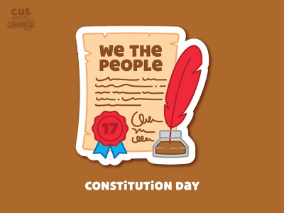 September 17 - Constitution Day quill quill and inkwell inkwell ink well feather pen ribbon founding fathers america constitution we the people