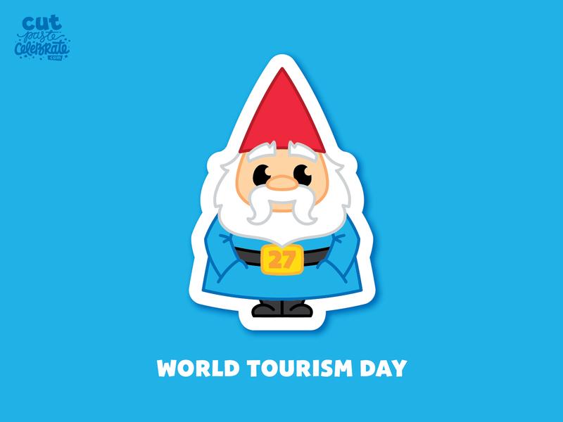 September 27 - World Tourism Day graphic design garden gnome tourism world tourism roaming travelocity gnome roaming gnome roaming gnome