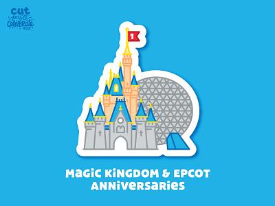 October 1 - Happy Anniversary Magic Kingdom & Epcot magic wand castle cinderella spaceship earth epcot center epcot disney world disney disneyworld magic kingdom