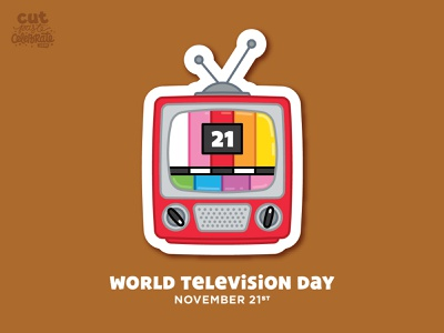 November 21 - World Television Day celebrate every day vintage icon illustration tv television world tv day world tv day world television day