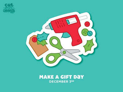 Make a Gift Day - Dec. 3 christmas maker buttons scissors glue gun diy holly gift tag make a gift day make a gift day