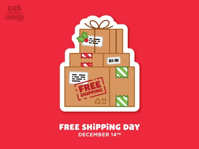 Free Shipping Day - December 14 boxes shipping boxes christmas packages package parcel free shipping day free shipping day free shipping green monday