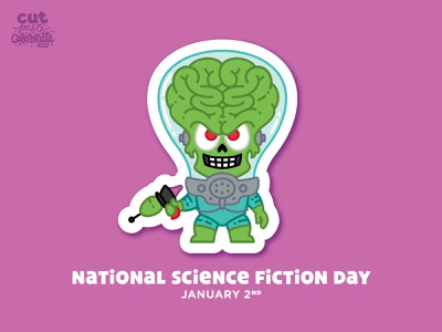 National Science Fiction Day - January 2 b movie science fiction tim burton martian mars attacks ray gun alien ack ack
