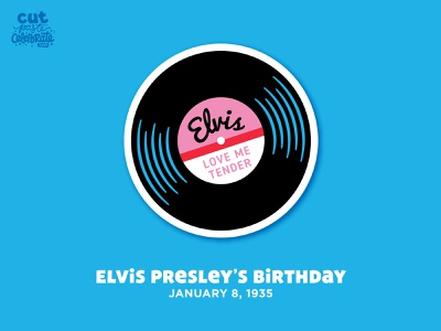 Elvis Presley's Birthday - January 8, 1935 cut file cricut celebration celebrate every day svg icons crafts rock and roll rock n roll record vinyl record elvis