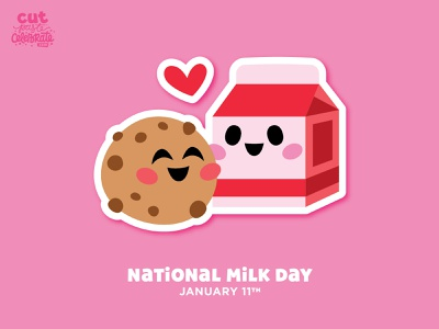 National Milk Day - January 11 cricut craft svg icons made for each other love chocolate chip carton cookie milk