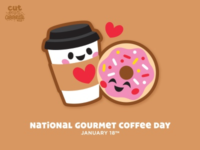 National Gourmet Coffee Day - January 18 cricut cut file svg icons valentine love bffs bff doughnut donut travel cup coffee cup to go cup coffee