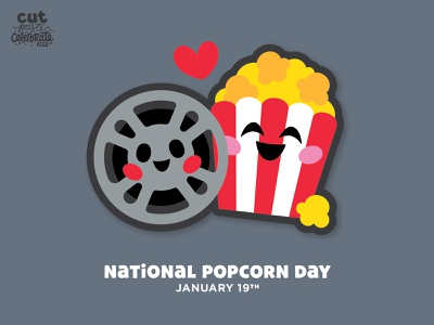 National Popcorn Day - January 19 minimal cricut cut file svg icons love valentine bffs bff movie night popcorn movies film reel movie