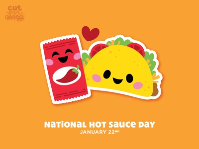National Hot Sauce Day - January 22 love celebrate cute bffs bff hot sauce taco chibi kawaii