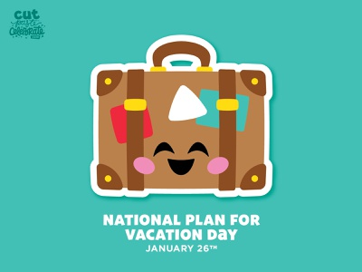 National Plan for Vacation Day - January 26 scrapbook staycation vacay vacations cricut cut file svg icons happy stickers kawaii chibi suitcase travel vacation