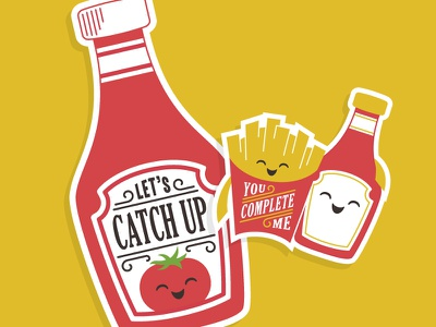 Let's Catch Up Card pun punny fries ketchup catsup card cricut curtrjensen