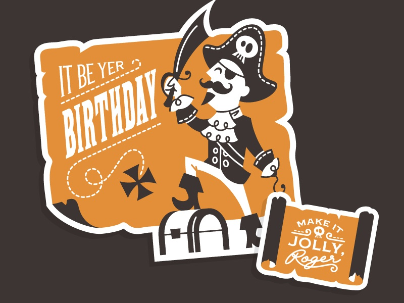 Pirate Birthday Card By Curt R Jensen Dribbble