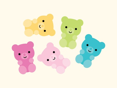 GUMMI a kiss! doodlebug design doodlebug kawaii gummi candy gummi bear puns so punny punny pun