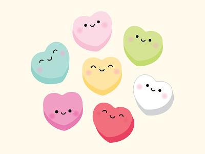 I HEART you! doodlebug design doodlebug kawaii candy conversation hearts heart candy heart valentine puns so punny punny pun