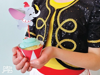 Printable Dumbo Cupcake Topper circus party cupcake freebie free printables printable fan art fanart dumbo disney craft crafts print  cut dieline