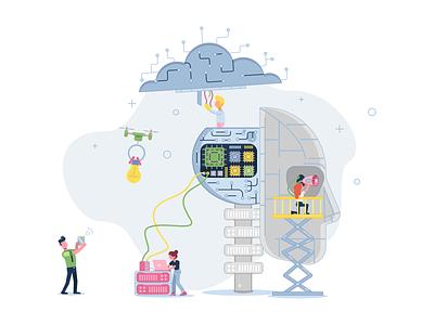 Accelerate Digitalisation head robot computer ai digitalisation design branding illustration infographic