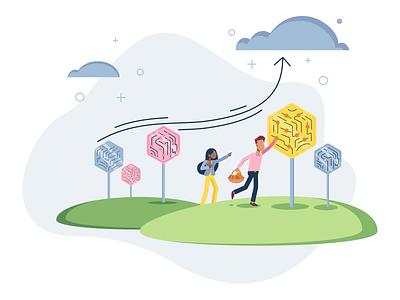 Effect transfer picknick tree digital web b2b infographic branding illustration transfer effect effect transfer