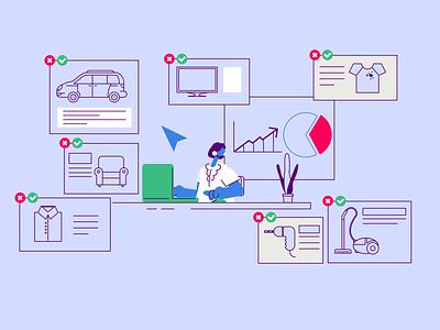 Besedo Marketplace computer office digital marketplace explainer video illustration animation