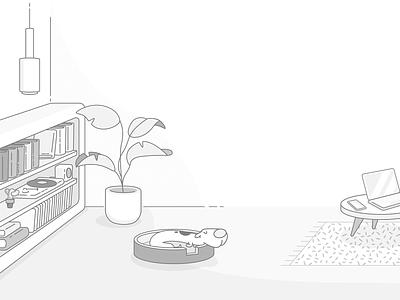 Free of Mind - Sleeping Dog meditation sleeping dog web ux vector ui illustration