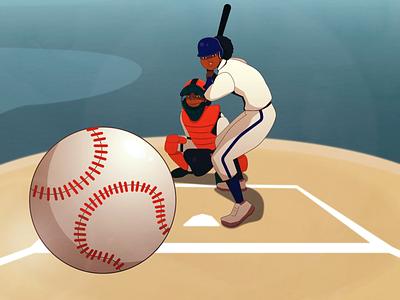Baseball Styleframe Batter sport woman character design character baseball design illustration animation