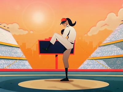 Baseball Styleframe Pitcher character design styleframe women woman sport baseball design illustration animation
