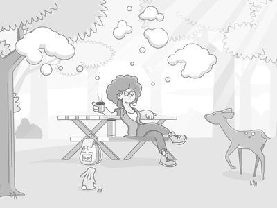 Free of Mind - Set your thoughts free relaxing girl deer rabbit thoughts forrest character design ui illustration