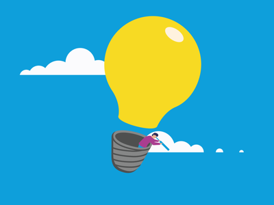 The Search design infographic illustration naive sky clouds search knowledge lightbulb