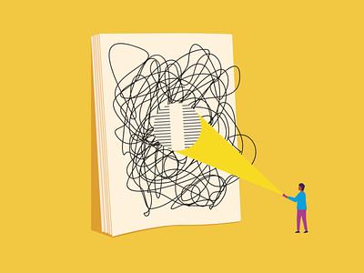Reading tools scribble paper magazine flashlight editorial dyslexia reading illustration