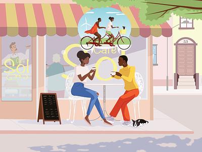 Planning Tandem Vacation vacation spring summer tandem bike bike coffee coffeeshop character design illustration