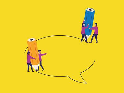 Let's talk interaction editorial bubble character design naive talk illustration communication