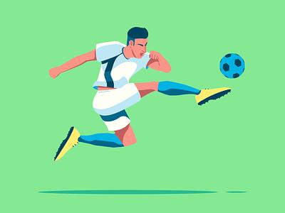 Football player character design illustration kick soccerplayer soccer footballplayer football