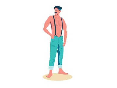 Mustasch Hunk pretty shirtless character design mustasch man model