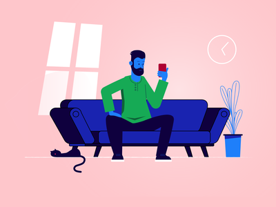 Man On Sofa blue living room man sofa illustration charachter design
