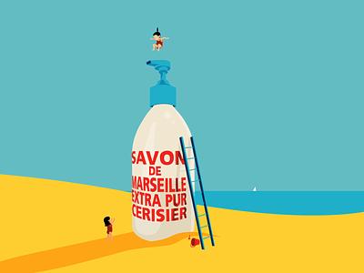 Clean Fun savon de marseille fun editorial illustration soap summertime clean fun clean children kids beach summer